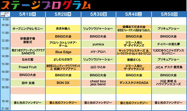2019年ステージプログラム