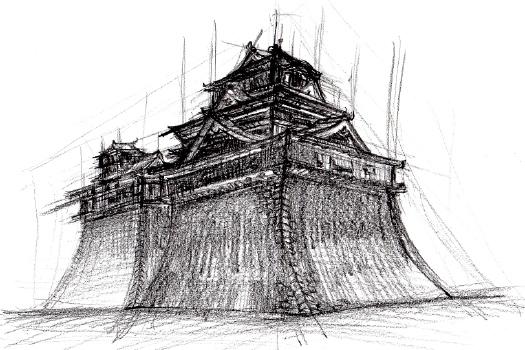 熊本城のデッサン