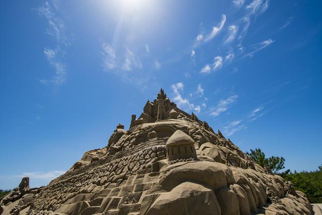 2017吹上浜砂の祭典のメイン砂像の様子